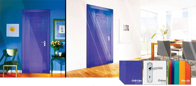 cửa gỗ màu xanh dương, cửa gỗ thời trang,cửa gỗ tự nhiên